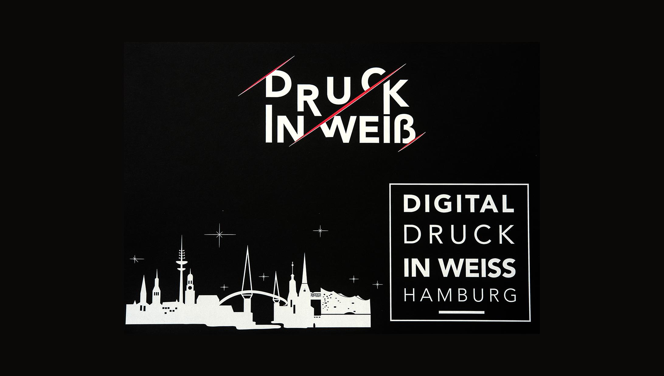 Digitaldruck mit Weiß auf schwarzem Papier Hamburg Hompage quer